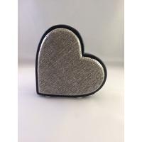 Décoration coeur noir/argent H12cm
