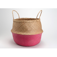 Panier bicolore nature rose fuschia