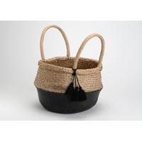Panier bicolore naturel pompons noirs