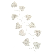 Guirlande 10xLED coeurs osier blanc