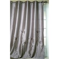 Rideau Shantung brodé gris 140 x 260 cm