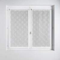 Paire vitrages en étamine brodé cercles blancs 60 x 160
