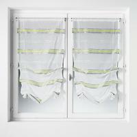 Paire vitrages à remonter etamine à rayures horizontales gris/anis 60x160cm