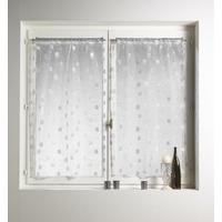 Paire de vitrages droit jacquard brodés carrés ivoire 45x120cm
