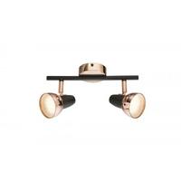 Spots projecteurs LED noirs/cuivrés x2