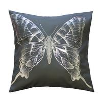 Housse de coussin papillon anthracite 40x40cm