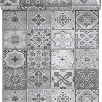 Papier peint carreaux de ciment gris mat