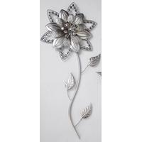 Décoration murale fleur argentée 70cm