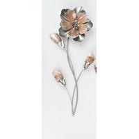 Décoration murale métallique fleur corail