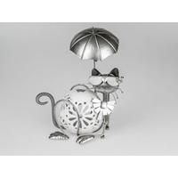 Photophore chat allongé métal Katze 33cm
