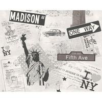 Papier peint duplex New York gris