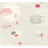 Papier peint intissé macarons vintage