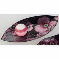 Assiette décorative orchidées rose & gris