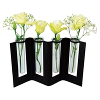 Vase paravent - 4 soliflores noir