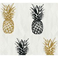 Papier peint intissé ananas noir/or