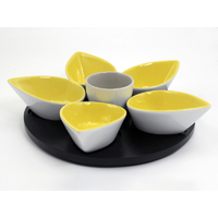 Coffret plat apéro tulipes jaune