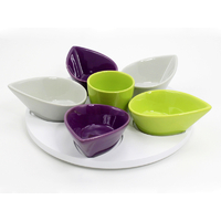 Coffret plat apéro tulipes vert/violet