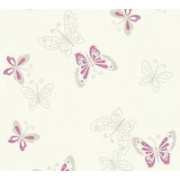 Papier peint intissé papillons rose