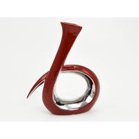 Vase ELSA rouge/argent 26cm