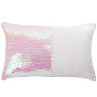 Coussin magique à sequins rose/blanc 30x50