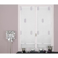 Paire de voilages broderies pointillés violet 60x90cm