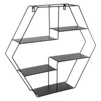 Étagère murale hexagonale en métal