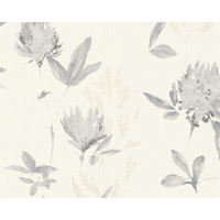 Papier peint expansé fleurs grises pailletées