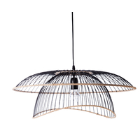 Suspension FLORE DESIGN noir/rotin