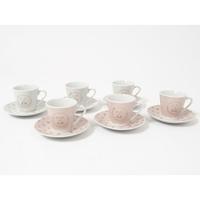 Coffret 6 tasses à café rose poudré - La vie est belle