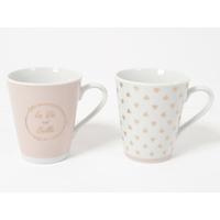 Coffret 2 mugs rose poudré - La vie est belle