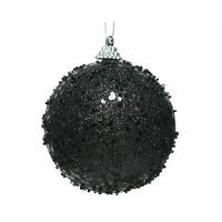 Boule de Noël noire paillettée