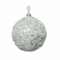 Boule de Noël blanche paillettée