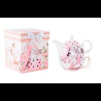 Théière chats en porcelaine et sa boîte de rangement