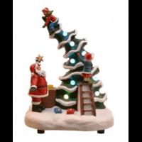 Scène de vie illuminée et musicale Père-Noël
