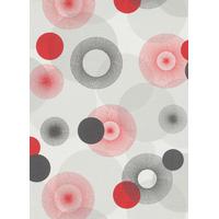 Papier peint ronds rouge/gris quadrillage