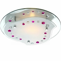 Plafonnier chrome et rose Nolo 60W