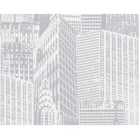 Papier peint expansé/intissé New-York blanc/argenté