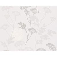 Papier peint intissé Graminée gris et blanc