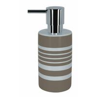 Distributeur de savon taupe/blanc Tube Stripes
