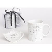 """Coffret mug + repose sachet de thé """"Une petite pause ?"""""""