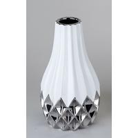 Vase cubique blanc et argent 22cm