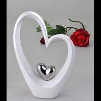 Décoration coeurs double blanc et argenté 25cm