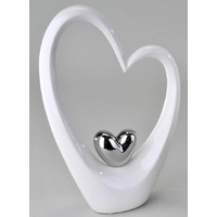 Décoration coeurs double blanc et argenté 37cm