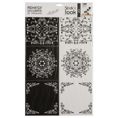 Stickers Carrelage Arabesques X6 Noir Blanc 15x15cm Papiers Peints