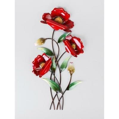 d coration murale m tallique pavots rouges au carrousel dore. Black Bedroom Furniture Sets. Home Design Ideas