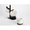 Déco Arbre 4 tasses blanches en porcelaine