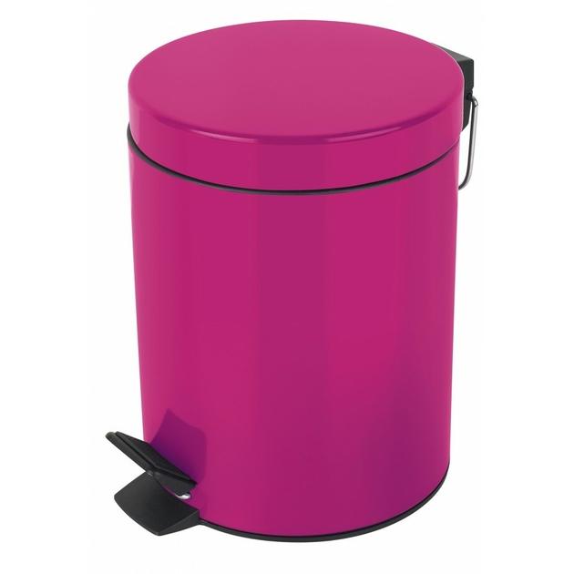 Poubelle m tal sydney 3l rose salle de bain espace wc au carrousel dore - Poubelle salle de bain rose ...