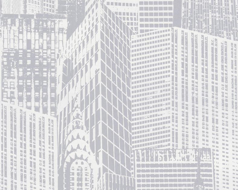 papier peint expans intiss new york blanc argent. Black Bedroom Furniture Sets. Home Design Ideas