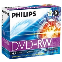 Pack de 5 DVD-RW PHILIPS 4,7 GB 4x