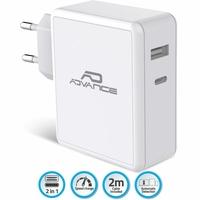 Chargeur secteur ADVANCE USB-C et USB-A 45W